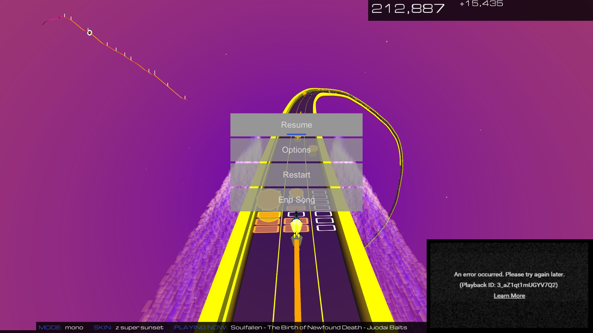 audiosurf crashes